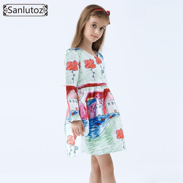 Vestido de las muchachas Del Invierno Ropa de Niños Niñas Marca Vestido de la Historieta Niños Ropa de Fiesta de la Princesa Boda Del Niño Del Bebé