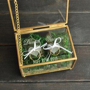Image 3 - Custom Wedding Ring Bearer, Gepersonaliseerde Bruiloft Ring Box Glazen Doos Geometrische Glas Ring Holder Box, Gepersonaliseerde Sieraden Doos