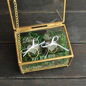 Image 3 - Niestandardowy obrączka na okaziciela, spersonalizowany ślub pudełko na pierścionek szklane pudełko geometryczny szklany pierścień pojemnik na pudełko, spersonalizowana biżuteria Box
