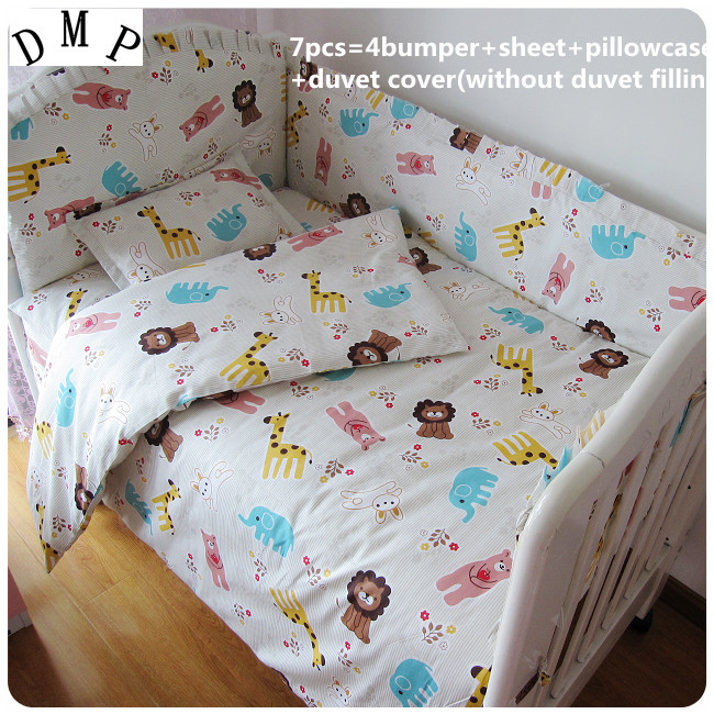 Promotion! 6/7PCS Baby bedding set character bed around,Duvet Cover, pillow sheet ,120*60/120*70cm