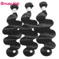 Ornate Hair Extensions Body Wave Human Hair Bundles Brazilian Hair Weave Bundle 1/2/3/4 Bundle Deal Natural Color Non Remy Hair