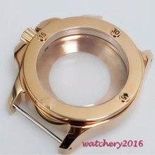 Parnis 47 мм Parnis розовый Золотой корпус из нержавеющей стали Калибр ETA 2836 MIYOTA 8215 механизм чехол для часов