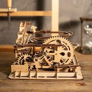 Robotime Rokr 4 Arten Marmor Run Spiel DIY Wasserrad Holz Modell Gebäude Kits Montage Spielzeug Geschenk für Kinder Erwachsene dropship
