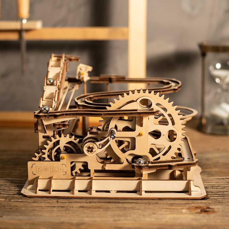 Robotime Rokr 4 أنواع الرخام تشغيل لعبة لتقوم بها بنفسك المائية نموذج خشبي بناء مجموعات التجمع لعبة هدية للأطفال الكبار دروبشيب