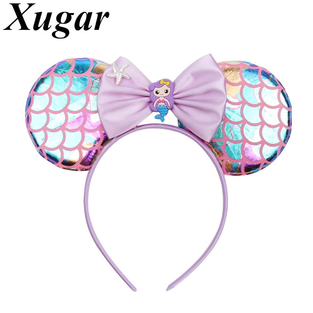 Xugar Hair Accessories Headband For Girls Mermaid Fish Scale Mouse Ears Hairband With Starfish Satin Bow Head Band Kids Headwear