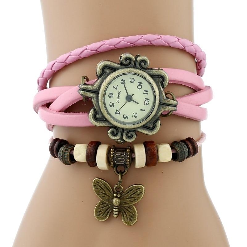 Gnova платины Кожаный Браслет Бабочка Леди Винтаж наручные часы мятно-зеленый розовый фиолетовый Этническая мода A887 - Цвет: Розовый