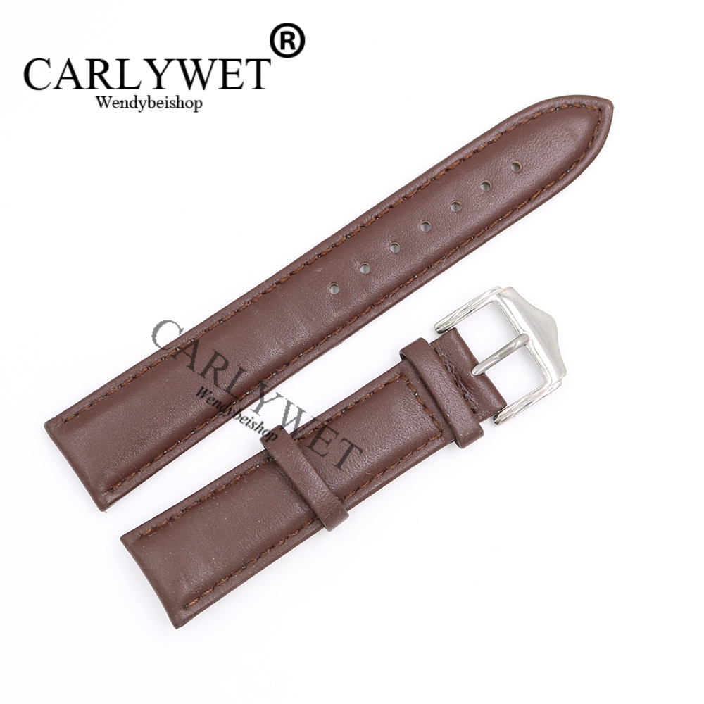 CARLYWET 20 21mm Newest Brown with Brown Real Leather Handmade Thick Wrist Watch Band Strap Belt With Silver Polished Pin Buckle