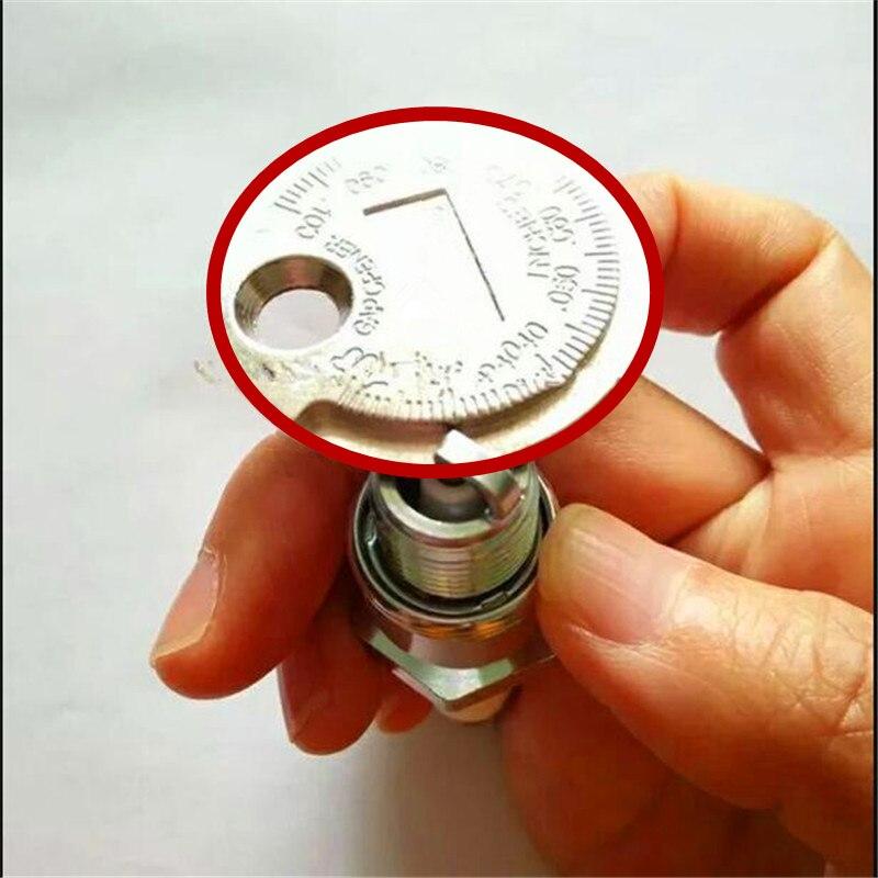 1pc 스파크 플러그 갭 게이지 도구 측정 솔리드 합금강 0.6-2.4mm 코인 타입 범위 스파크 플러그 게이지 고품질