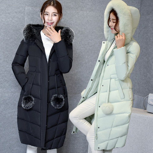New Arrival Winter Fashion Women Duck Down Coat Jacket with Real Fox Fur Hoodies Maxi Long Thick Parka Black Grey Pink Green XL s xl thick warm long women winter coat 2016 fashion down coat with hoodies long sleeve white parka solid color