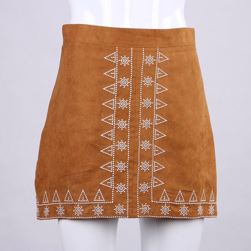 HTB13WWPNFXXXXazapXXq6xXFXXXa - FREE SHIPPING  Embroidery Suede A-line Skirt Black Brown Mini Skirts JKP350