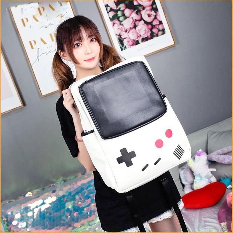 Nouveau Style japonais GameBoy noir blanc sacs Console de jeu sac à dos Anime Cosplay sac à bandoulière en cuir synthétique polyuréthane à dos cadeau japonais