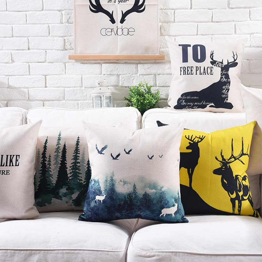 Free Shipping!!Nordic design deer tree square throw pillow/almofadas case adult teen kid 45 53,scenic cushion cover home decore