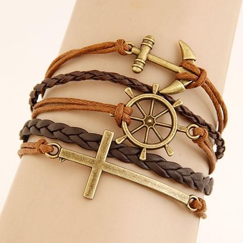 Leather Charm Bracelet - brown sea farer