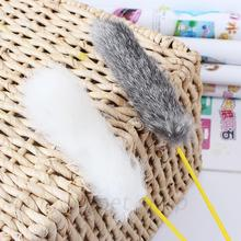Pet Cat Toy Teaser Rabbit Hair Feathers Tease Stick Interactive Goods for Cats Catcher Toys