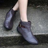 Плюс Размеры Для женщин кожаные сапоги Челси черные, на низком каблуке Весна ленивый обувь леди 2019 Женские ботильоны ручной работы из натур