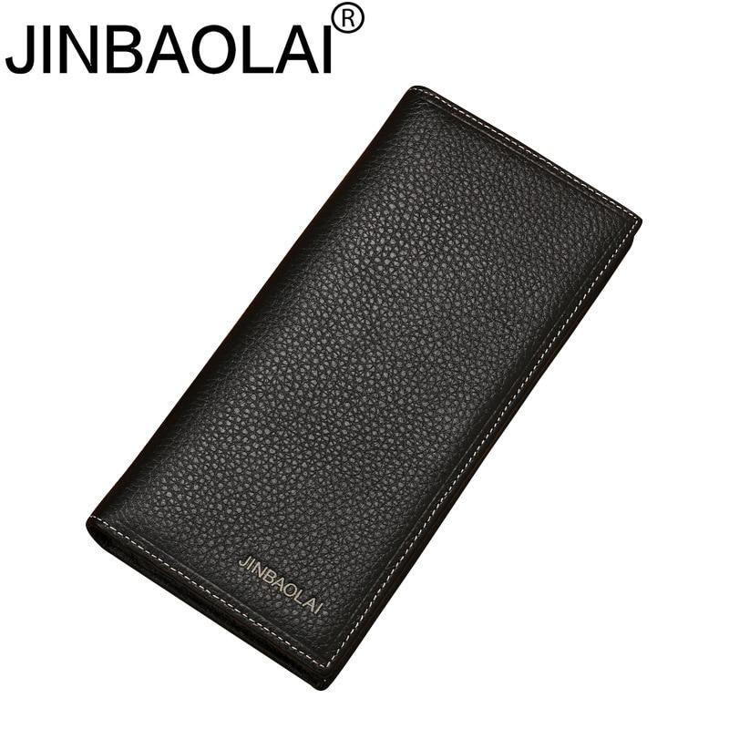 JINBAOLAI Brand Men Wallet Genuine Leather Long clutch wallets for men Cowhide Bifold Purse Slim Fashion Male Wallets Carteira