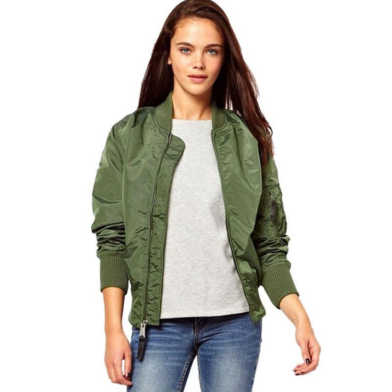 Army Green Bomber Jacket Women Slim Military Flight Jackets Womens ...