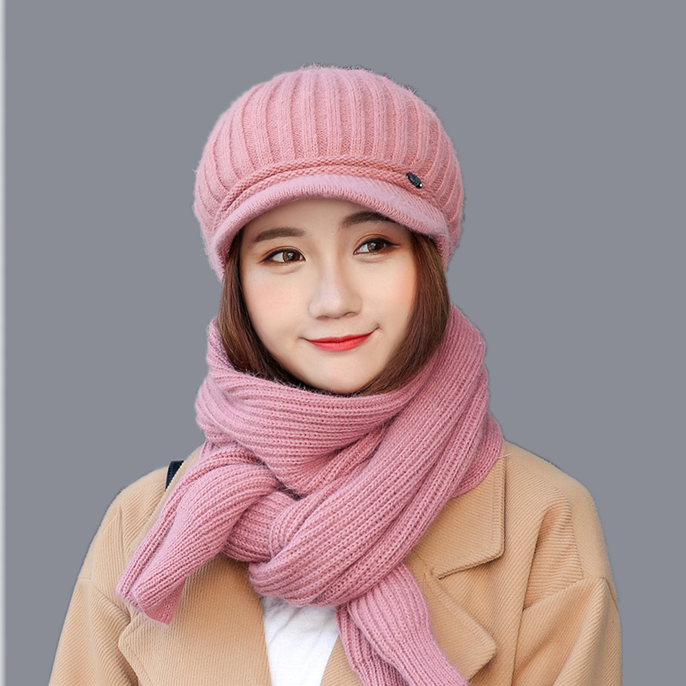 2017 new fashion woman winter wool hat cotton women hat scarf gloves set solid hat and scarf set for women knitted simplicity wholesale 2pr set knitted touchscreen gloves
