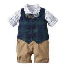 British Style Spring Baby Boy White Stripe Shirt with Bow Tie+Plaid Vest+shorts Formal Gentleman Kids Clothes Set Party Costume цены онлайн