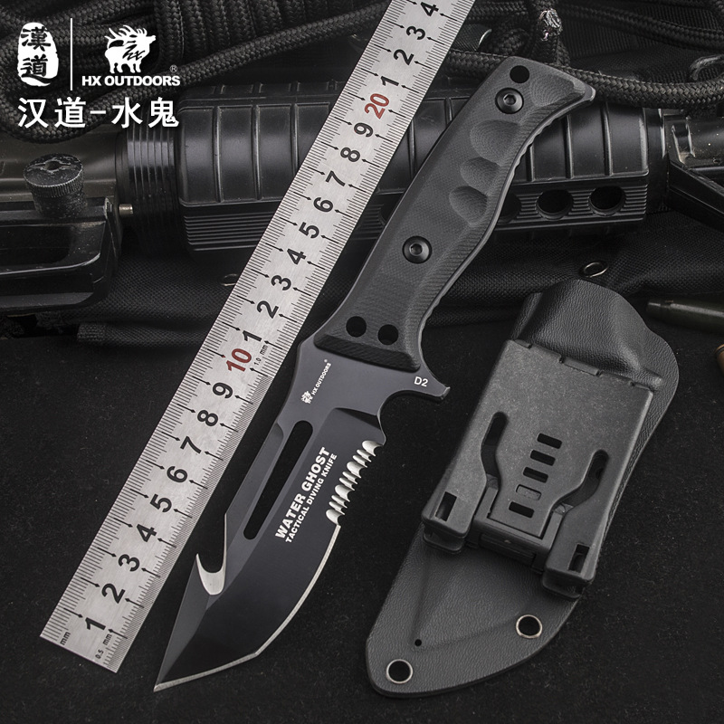HX OUTDOOR water ghost D2steel tactical high hardness straight knife self-defense wild survival knife cutting tool outdoor knife fire maple sw28888 outdoor tactical motorcycling wild game abs helmet khaki