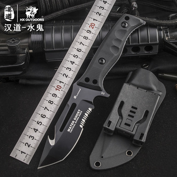 HX OUTDOOR water ghost D2steel tactical high hardness straight knife self-defense wild survival knife cutting tool outdoor knife