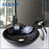 KEMAIDI Victory Hand Painting Artistic Basin Sink Washbasin Counter Glass Sinks with Faucet Sink Sets Thunder lightning figure