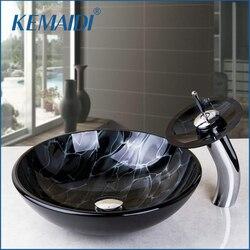 KEMAIDI Victory ręcznie malowanie artystyczne umywalka umywalka umywalka licznik szklane umywalki z kran zlew zestawy grzmot błyskawica rysunek w Umywalki do łazienki od Majsterkowanie na
