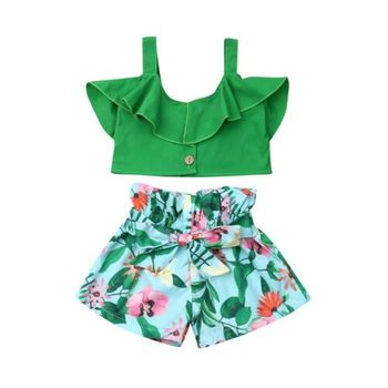 Emmababy Brand Toddler Baby Girls Floral Vest Falbala Sleeveless Off Shoulder Crop Tops Floral Printed Shorts Outfits Clothes 4