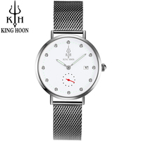 2017 KING HOON Brand Watches Women's Quartz Fashion Casual Business Watch Full Steel Female Clock 30m Waterproof Date Wristwatch