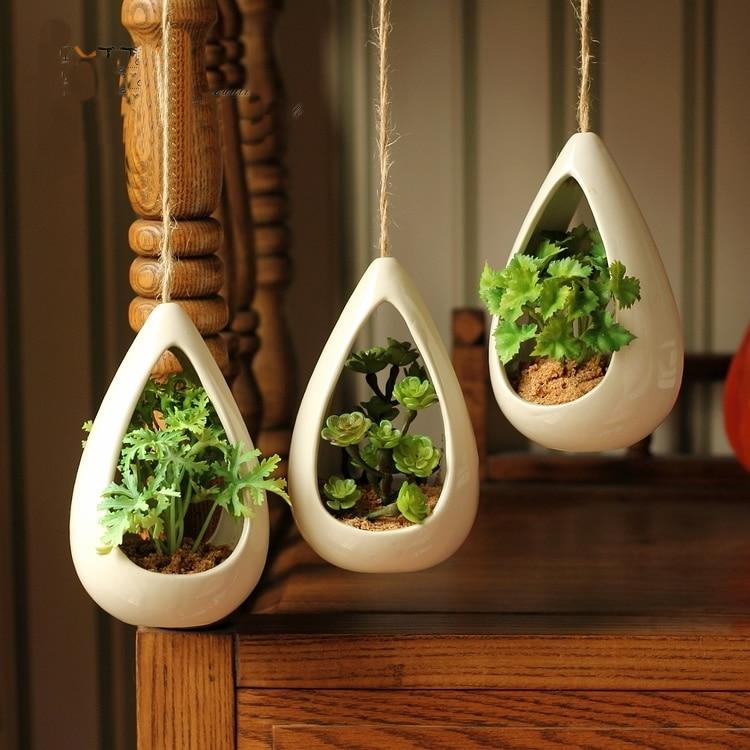 exquisite home decoration ceramic hanging pots fashion artificial plants hanging flower pots. Black Bedroom Furniture Sets. Home Design Ideas