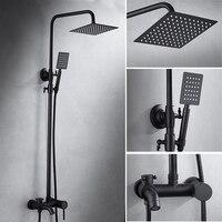 Óleo friccionada bronze preto chuveiro conjunto único punho do banheiro chuveiro quadrado misturador de água parede ou teto montado chuva chuveiro cabeça