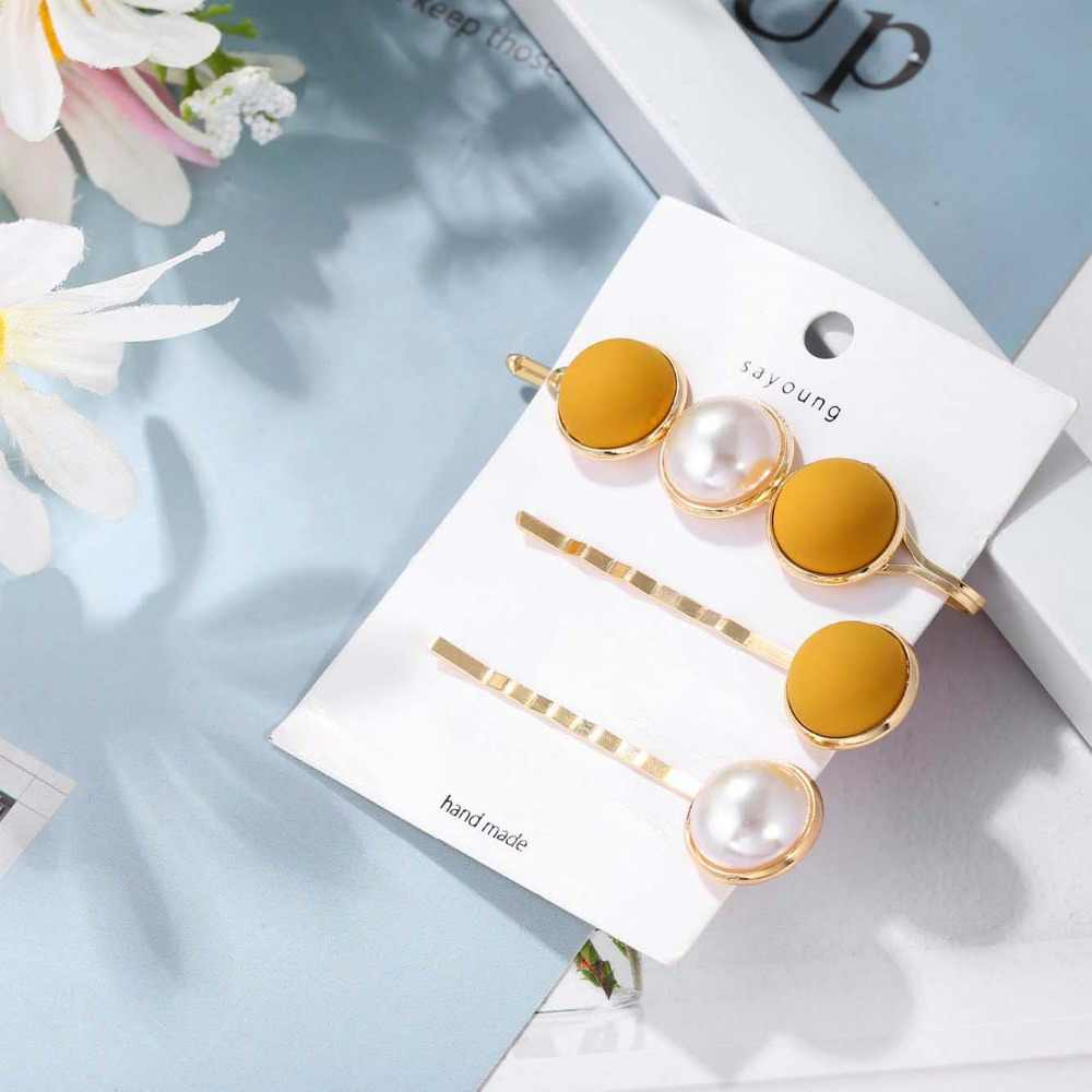 3Pcs/Set Women Barrette Metal Gold Pearl Hair Clip For Women 2019 Fashion Korean Hair pins Hairband Hair Accessories Jewelry Y1
