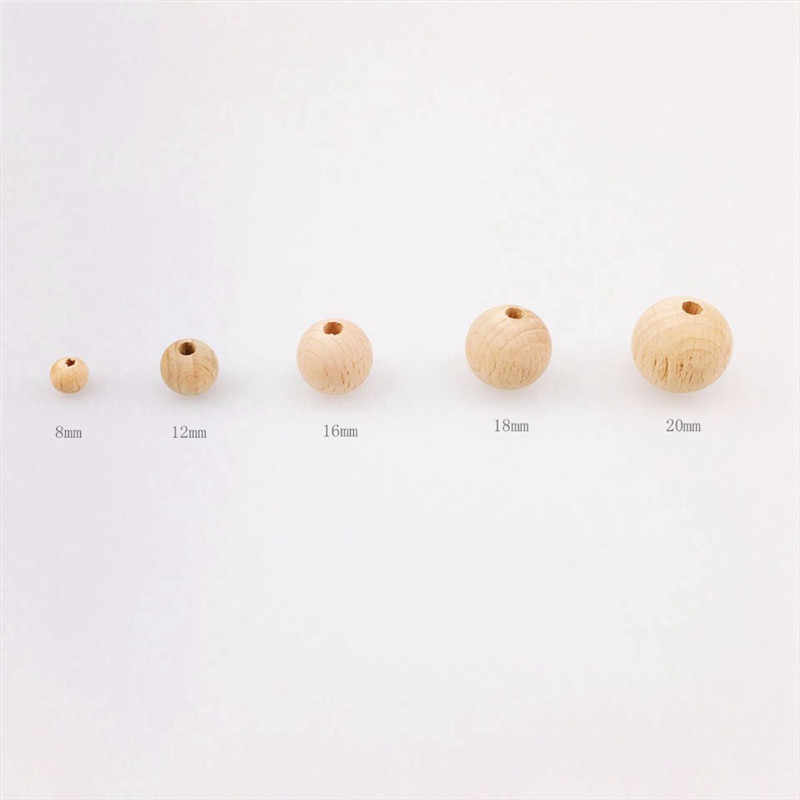 Beech Wooden 8-20mm Round Beads Ecofriendly DIY Craft Jewelry Accessories Nursing Chewing Round Silicone Beads Necklace