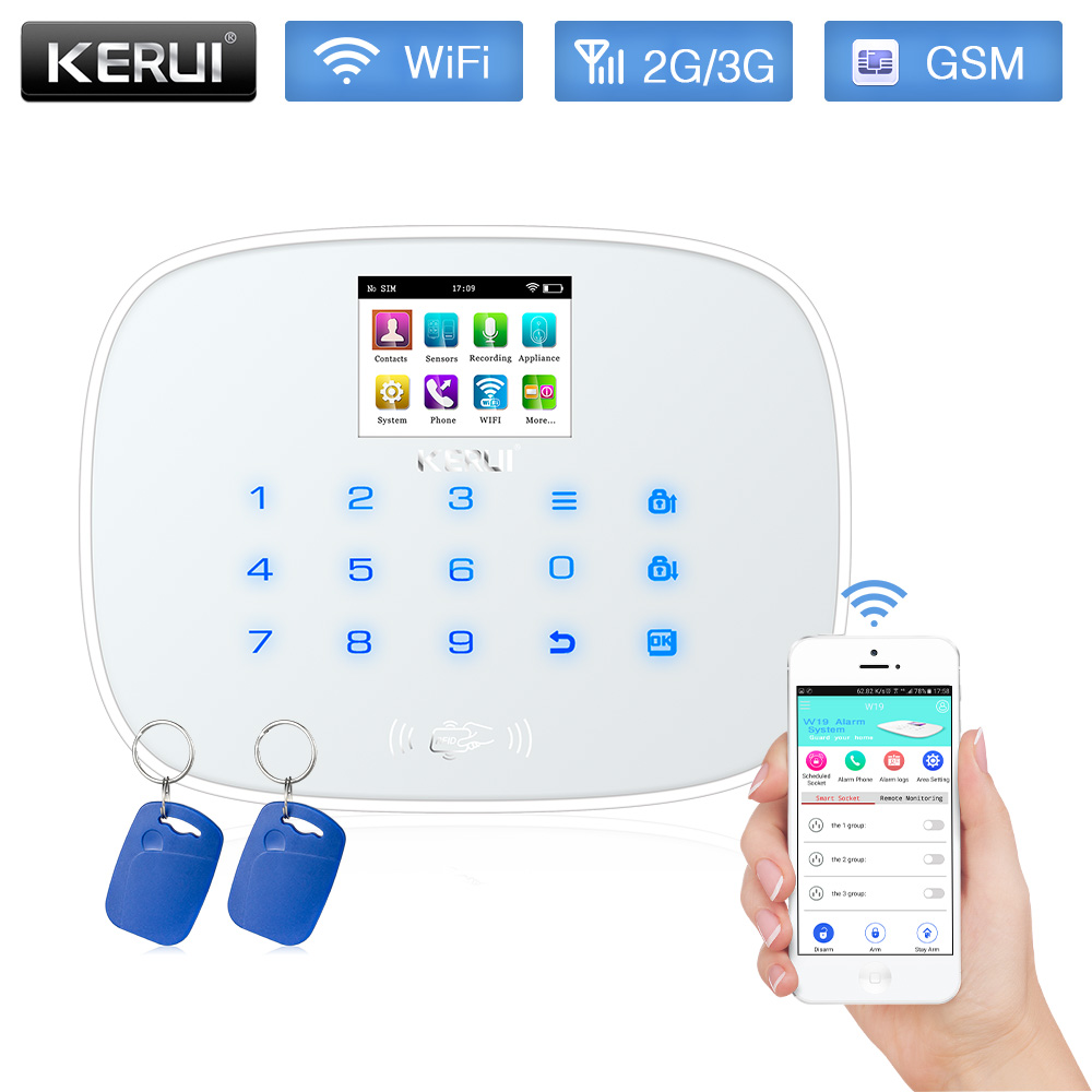 KERUI W193 3G WiFi GSM RFID Card Touch Screen Android IOS APP remote control Alarm System Home Security Alarm White Black Panel