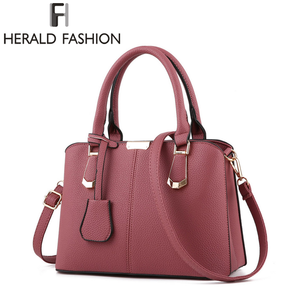 Herald Fashion PU Leather Top-handle Women Handbag Solid Ladies Lether Shoulder Bag Casual Large Capacity Tote Crossbody Bags stylish patchwork plaid pu leather handbag women korean style fashion large shoulder bag ladies gorgeous simple crossbody bag