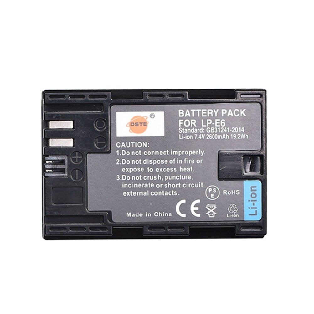 DSTE LP-E6 LP-E6N lp e6n 2600 mAh Batterie pour Canon EOS 5DS 5D Mark II 5D Mark III IV 6D 7D 60D 60Da 70D 80D 5DSR 7D Mark II