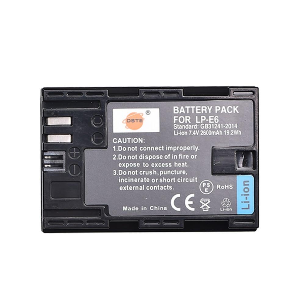 DSTE LP-E6 LP-E6N lp e6n 2600 mAh batería para Canon EOS 5DS 5D Mark II 5D Mark III IV 6D 7D 60D 60Da 70D 80D 5DSR 7D Mark II