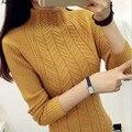 2016 новый горячий продажа женская осень зима с длинным рукавом мандарин воротник трикотажные свитера женщина случайные мягкие пуловеры 5 цвета