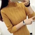 2016 nueva venta caliente de la mujer otoño invierno cuello mao manga larga suéteres de punto de mujer casual suéteres suaves 5 colores