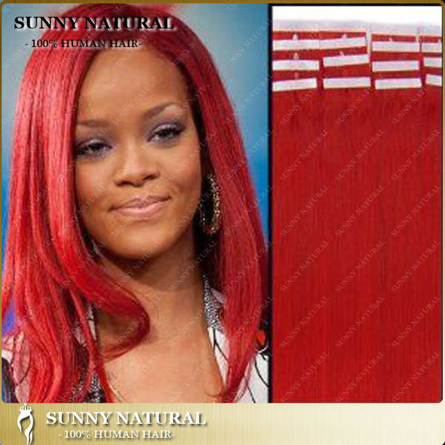 16 26inch Rihanna Style Red Colored Tape Hair Extensions Human Hair