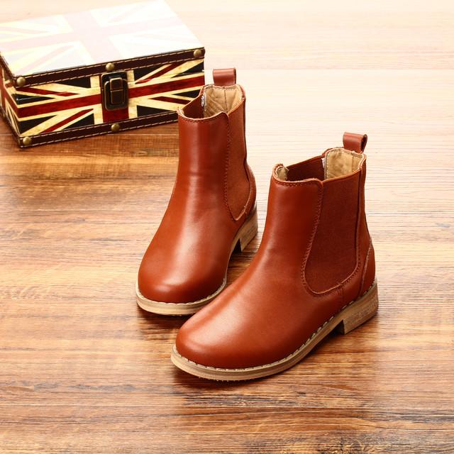 Koovan niños botas 2017 niñas de cuero de vaca zapatos de las muchachas zapatos solo otoño invierno niños botas cortas niños martin shoes