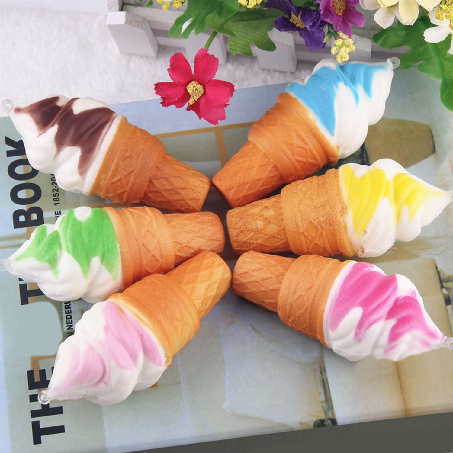 6pcs Kawaii Slow Rising Rebound Squishy Charm Ice Cream Torch Pendant Toy for Antiestress Random Color