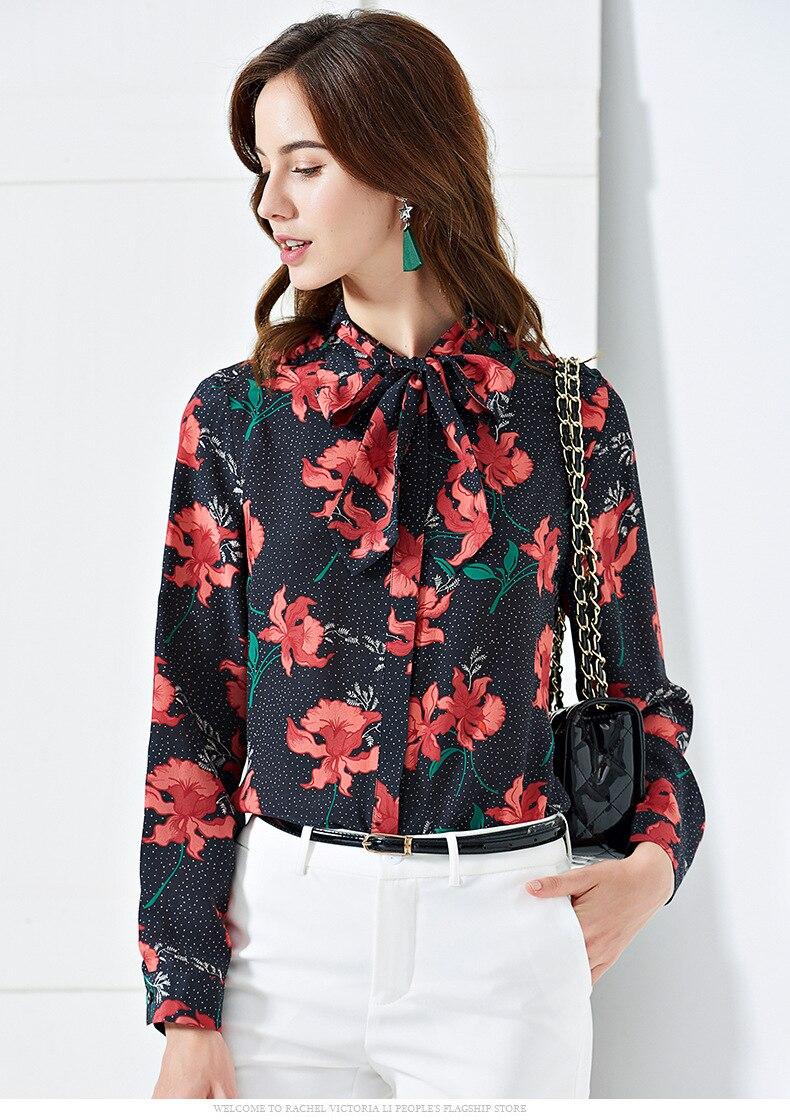 Pani Milan 2019 100% czystego jedwabiu kobiet Runway koszule łuk kołnierz długi rękawy Floral wydrukowano eleganckie bluzki bluzka z krótkim rękawem w Bluzki i koszule od Odzież damska na  Grupa 3