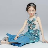 Children's Dress Baby Girls Clothes Halloween Costume Carnaval Baby Mermaid Dress Princess Trailing Evening Gowns Y298 Free Ship