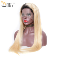 Doozy Ombre 1b/613 Russian Blonde Straight Remy Brazilian Hair Wig Pre Plucked Lace Front Human Hair Wigs