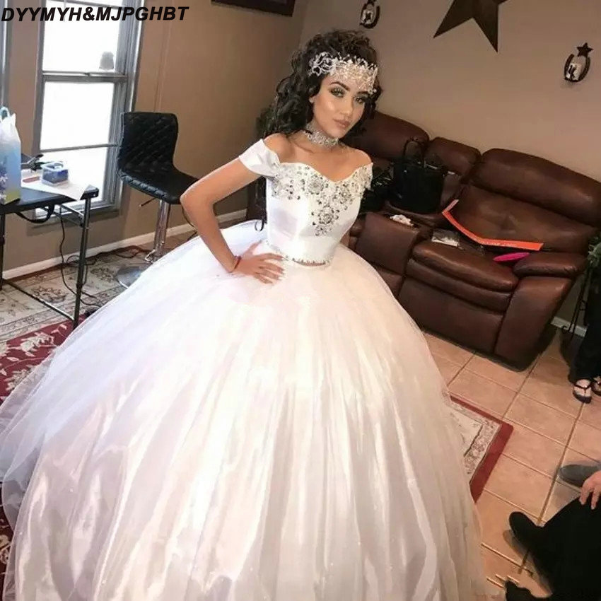 2019 Wedding Ball Gowns: Two Pieces White Taffeta Wedding Dresses 2019 Ball Gown
