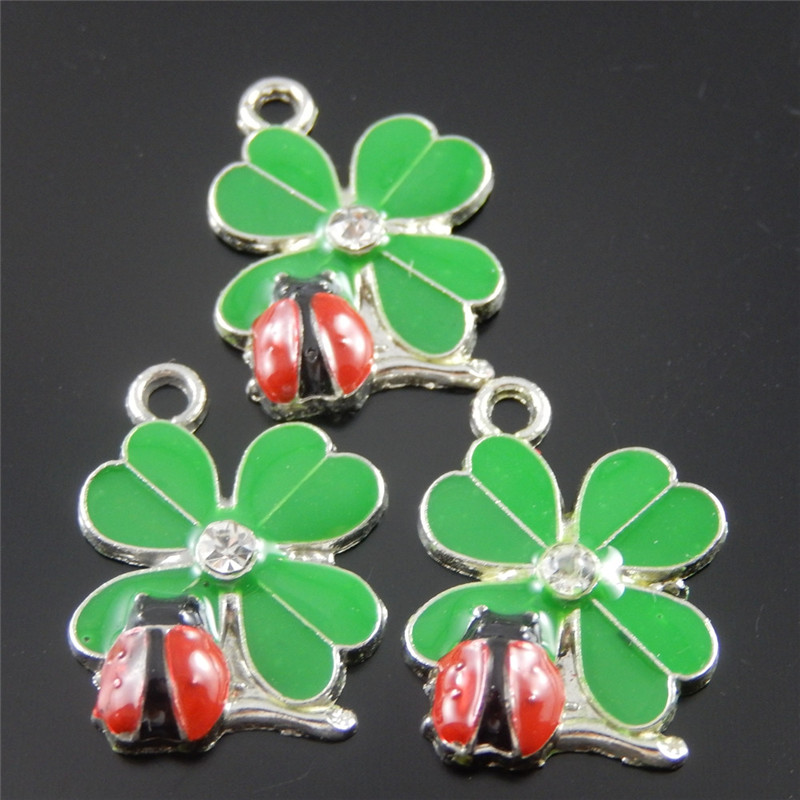 Julie Wang 20pcs Imitation Mini Animal Charms Silver Pated +Enamel Green&Red Ladybug Pendant Handmade Hanging Crafts