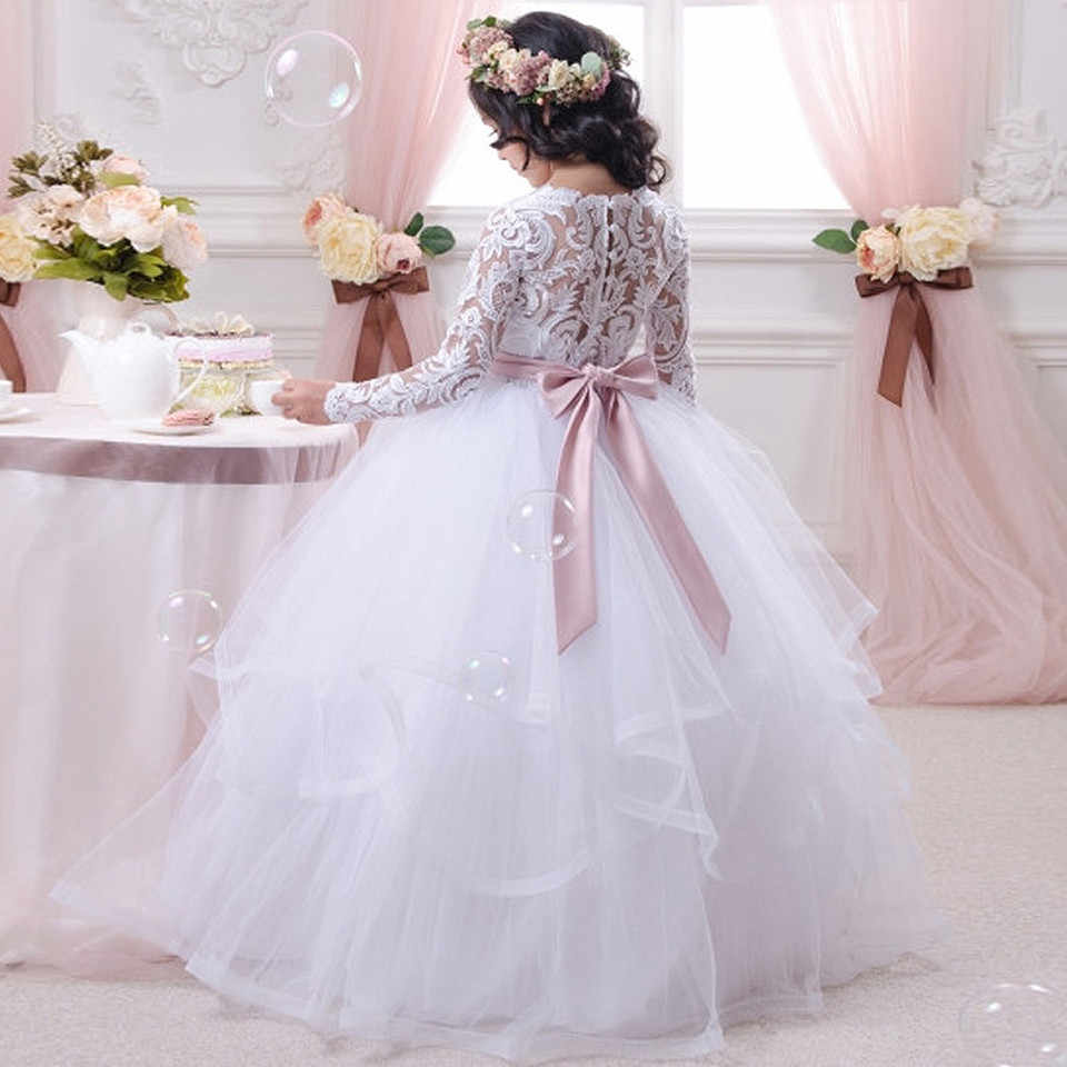 a1eec6818e4 ... Новые белые пышные Платье с кружевными цветами для девочек для свадьбы  одежда с длинным рукавом бальное