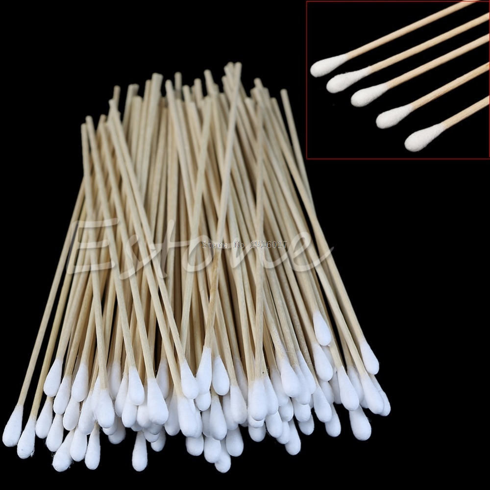 100Pcs Swabs 6'' Long Wood Handle Sturdy Cotton Applicator Swab Q-tip