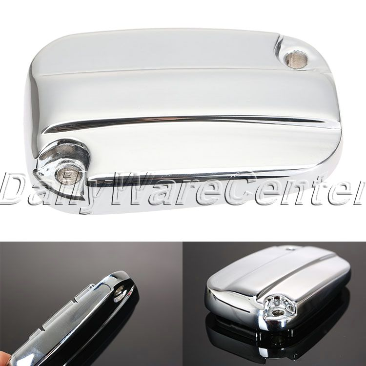 Aluminum Motorcycle Brake Fluid Reservoir Cap Cover for Harley Davidson Electra Glide Road King 2007-2014 Chrome Motorbike Parts aftermarket free shipping motor parts for motorcycle 1989 2007 suzuki katana 600 750 billet oil brake fluid reservoir cap chrome